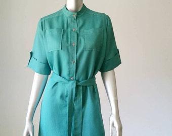 70s Dress   Emerald Dress   Shirt Dress   Short Sleeve Dress   Short Sleeve Button   Green Dress   XL Dress  