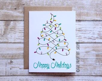 Happy Holidays Card, Merry Christmas Card, Christmas Tree Card, Christmas lights card, Joyeux Noel Card, String of lights, Xmas Card