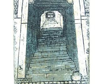 Buddha Eyes, Benares/Varanassi , Etching of India, Original Art