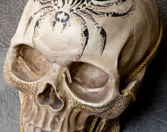 Hand decorated replica skull, gothic,