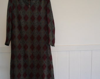 vintage 80's 90's long sleeve dress size S/10 geometric paisley Couture House Reiko
