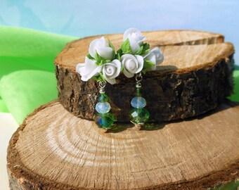 Earrings White Roses Polymer studs earrings Roses Dangle earrings White jewelry rose Flower jewelry White flower Long rose earrings crystals