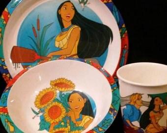 Vintage 1990s Disney's POCAHONTAS 3 Piece Plate Set!!! Like NEW Condition!!