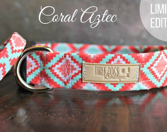 """Dog Collar with Optional bff  bracelet """"Coral Aztec"""" FREE SHIPPING! **Please leave EXACT tight wrist measurement no wiggle room**"""