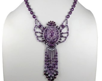Embroidered necklace purple, baroque couture, silver Sterling and Swarovksi Crystal