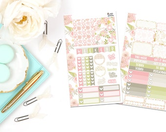 PK4-Pink Floral Personal Planner Sticker Kit