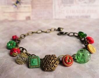 Vintage Glass Buttons Bracelet - 1920s 1930s Vintage Jewellery - Handmade Bracelet - Red Green Gold Bracelet - Unique -Gift for Her