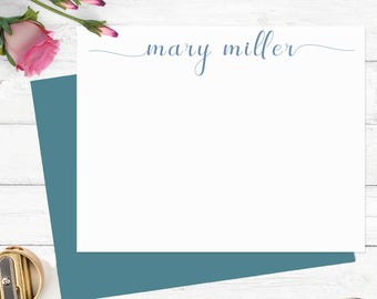 Personalized stationary set,Modern calligraphy stationery,flat note cards,custom notecards,thank you notecards,set of 10 thankyou cards