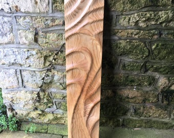 Hand carved Wooden Ash Wall Hanging, Sculpture, Art.