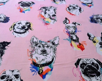 Dog Fabric for dog lovers, pug, french bulldog, dog breeds, Bow wow wow Pink, Novelty, Whimsical, Alexander Henry, by the yard, half yard