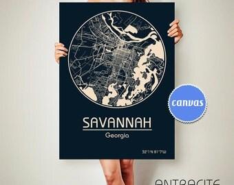 SAVANNAH Georgia CANVAS Map Savannah Georgia Poster City Map Savannah Georgia Art Print Savannah Georgia poster Savannah Georgia map