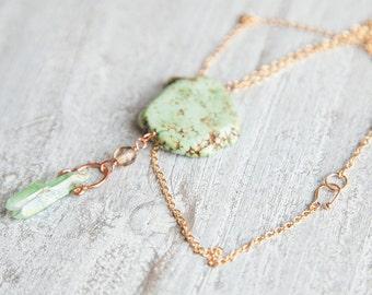 Green Crystal Necklace, Green Quartz Necklace, Green Turquoise Necklace Boho Quartz Necklace Boho Necklace Raw Quartz Necklace Rough Crystal