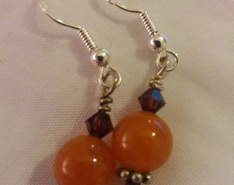 Handmade Sterling Silver Carnelian & Garnet Dangle Earrings Drop Earrings