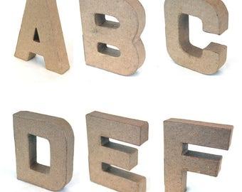 Papier Mache Alphabet Letters and Ampersand, 10cm high, free standing, Cardboard Letters, Decoupage Letters, ScrapBooking, Alphabet Art