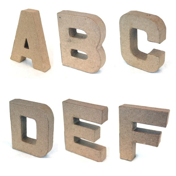 Papier mache alphabet letters and ampersand 10cm high for Alphabet letters cardboard