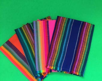 4 Fiesta Mix Handwoven Napkins, Handmade with Vibrant Mexican Textiles