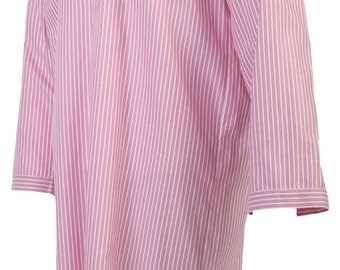 Cotton nightshirt, red and white stripe, shell buttons, shirt tail, men's size small