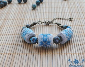 Agate bracelet blue jewelry Beaded bracelet boho gift for women Agate jewelry beaded embroidery bracelet Christmas gifts for wife blue gift