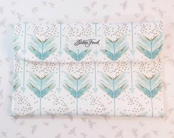 Diaper Clutch - Blue Green Aqua Arrows (Designer), Teal Blue Green Gold Diaper Clutch, Diaper Bag Organizer, Diaper Wallet, Diaper Pouch