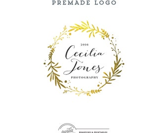 Gold Wreath Logo design, Premade Floral Logo, Calligraphic Logo, Feminine Branding, Premade Logo Design, Elegant Logo and watermark