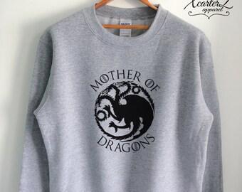 Mother of Dragons Sweater Mother of Dragons Sweatshirt Targaryen Sweater Fleece Shirt Crewneck Unisex Women Girls Men Black/Grey/Navy XS-2XL