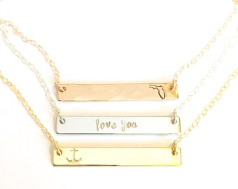 Bridesmaid Necklace - Bridesmaid Gift- Wedding Party Jewelry- Name Necklace - Best Friend Necklace - Personalized Bar Necklace