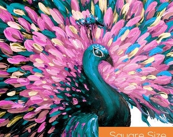 Extra Large Wall Art. Teal Peacock Painting. Wall Hanging Home Decor. Animal Painting. Modern Art. Original Painting on Canvas Art