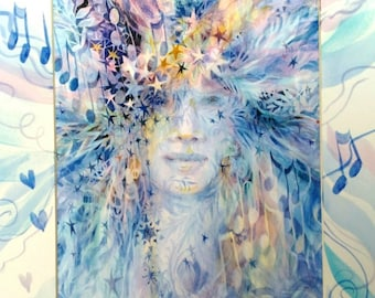 Goddess of Winter - Spirit Inspired Watercolor Print with Unique Hand Painted Mat