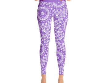 Yoga Bottoms - Amethyst Yoga Leggings, High Waisted Workout Pants in Purple and White
