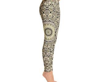 Mid Rise Tribal Yoga Pants for Women - Hippie Leggings, Festival Clothing, Shaman Clothing, Printed Yoga Leggings, Footless Tights