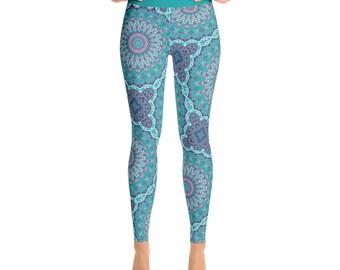 Leggings Blue Funky and Fun - High Waist Yoga Pants, Yoga Leggings, Mandala Art Leggings