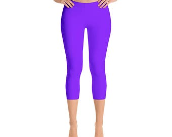 Capris - Violet Leggings, Mid Rise Waist Workout Pants, Bright Colored Leggings for Yoga