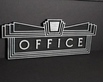 office sign art deco carved wooden 3 d office sign plaque large art deco office