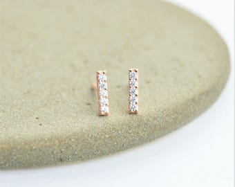 Sterling Silver Little Minimal Gemstone CZ Bar Studs - 925 Sterling Silver, Rose Gold Plated. Sparkly Little Minimal Geometric Stud Earrings