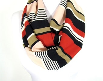Striped Scarf Infinity Scarf Loop Fall Winter Women Fashion Accessories Christmas Gift For Her For Women Mothers Day Gift For Mom Fatoz