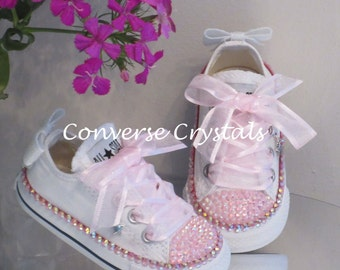Girls low Custom Crystal *Bling* Converse Infant sizes 2-10