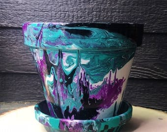 Hand-Painted Abstract Pot//Black, Teal, Magenta, and White Hand-Painted Pot//Hand-Painted Terracotta Pot//Hand-Painted Flower Pot
