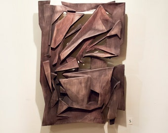 Wood wall art,  bas-relief, wooden sculpture, polygons