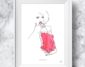 SALES 30% OFF - A4 - GREED : Illustration Drawing Art Print Poster Wall Art Christmas Gift Art for Home