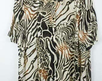 Vintage long shirt 80s animal print oversized
