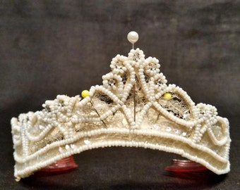 Antique Bridal Crown, Beads and Crystals on Lace, Period Wedding Crown, Vintage Wedding, Victorian Bride