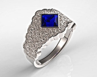 Platinum Engagement Ring w/ Blue Sapphire Lace Texture, Platinum Lace Ring w/ Princess Sapphire, Platinum Statement Ring, Anniversary Ring