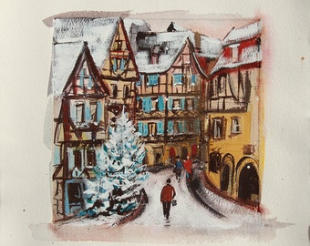 Painting of an Alsatian city in winter, Colmar in the snow with a Christmas tree and pedestrians, city in France, original painting