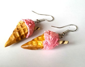 Strawberry Ice Cream Earrings, Food Jewelry, Miniature Food Earrings, Pink Ice cream