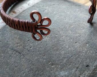 Copper Wire Woven Bangle / Bracelet, Copper Bangle, Copper Bracelet, Vintage Copper Bracelet, Small Bangle, Cuff Bracelet,