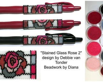 Stained Glass Rose 2 by Debbie van Tonder beaded pen kit (pattern sold separately)