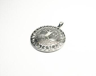 Great life tree world tree Silver 925 Wicca runes pendant