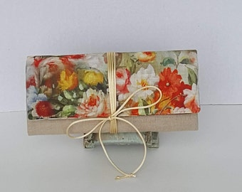 Travel Jewelry Roll/Unique Bridesmaid Gift/ Multi Floral Linen Jewelry Roll/ Storage Jewelry Roll/ Brides Gift/ Organizer Jewelry Roll/