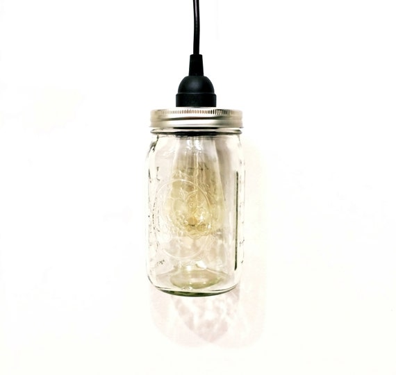 Edison Bulb Chandelier Mason Jar Lighting Mason By: Ball Mason Jar Edison Bulb Pendant Light Swag Lamp Clear