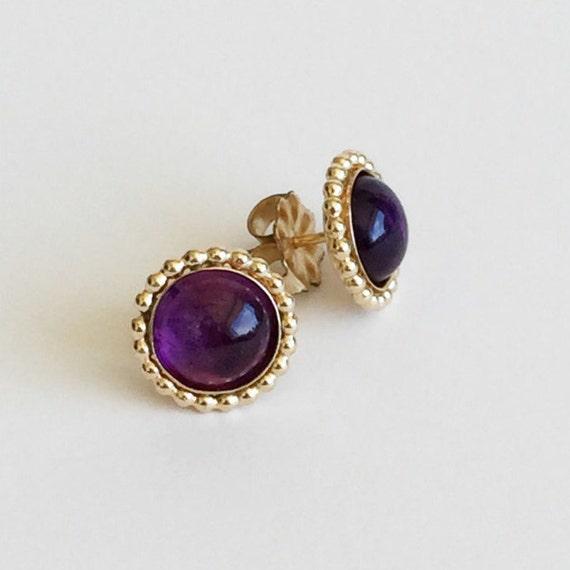 amethyst stud earrings gold amethyst by